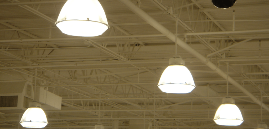 LED High bay light fixtures in industrial setting