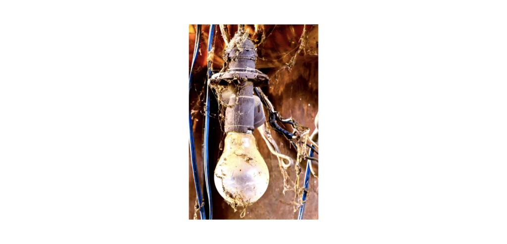 Example of an unsafe light fixture in a hazardous area
