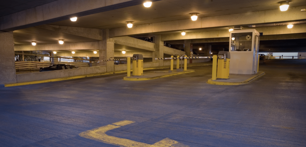 Canopy Light Fixtures within a parking garage