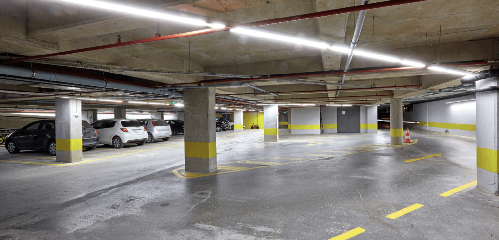Linear LED Light Fixtures in a parking garage