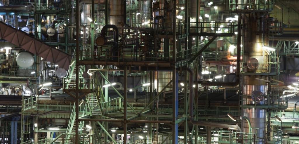 Hazardous area lighting within a petroleum factory